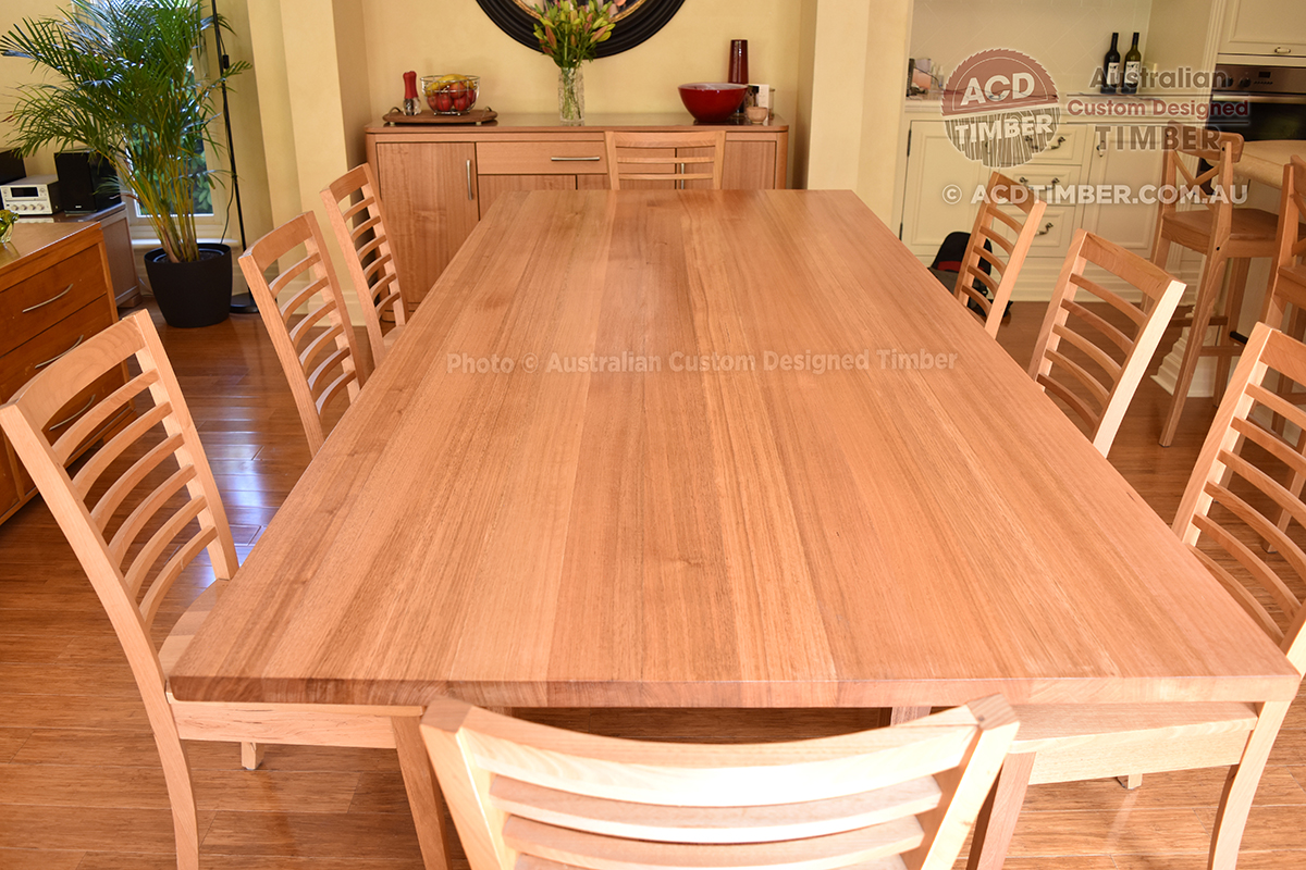Number TOV4012. Custom Tasmanian Oak dining table with steel square-shaped legs. 2.70 metres (L) x 1.00 metre (W) x 0.76 metre (H)