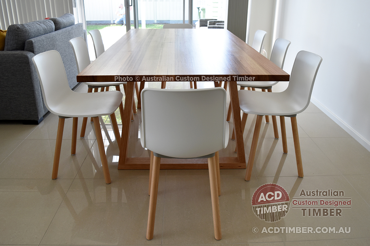 Number TOV4010. Custom Tasmanian Oak dining table with timber trapezoid (Tapered-top) legs. 1.80 metres (L) x 1.00 metre (W) x 0.76 metre (H)