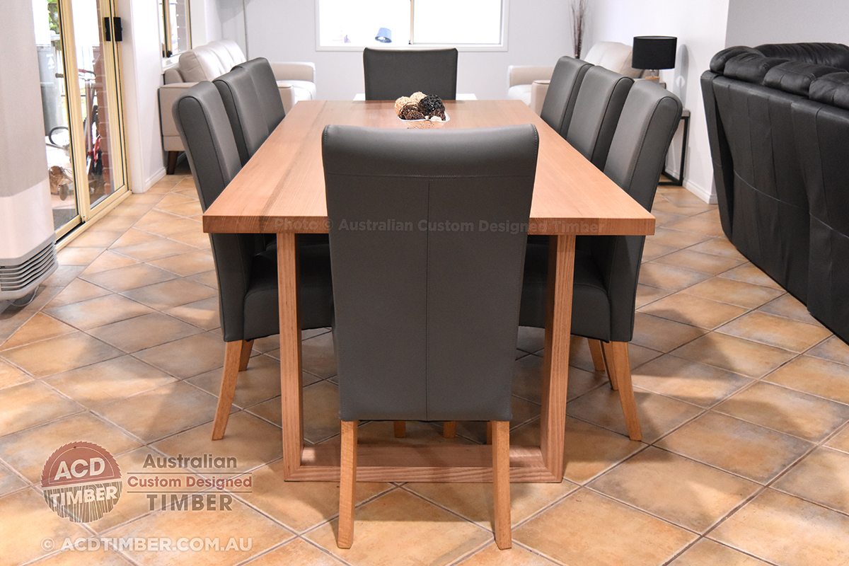 Number TOV4010. Custom Victorian Ash dining table with square timber legs. 2.20 metres (L) x 1.00 metre (W) x 0.76 metre (H)