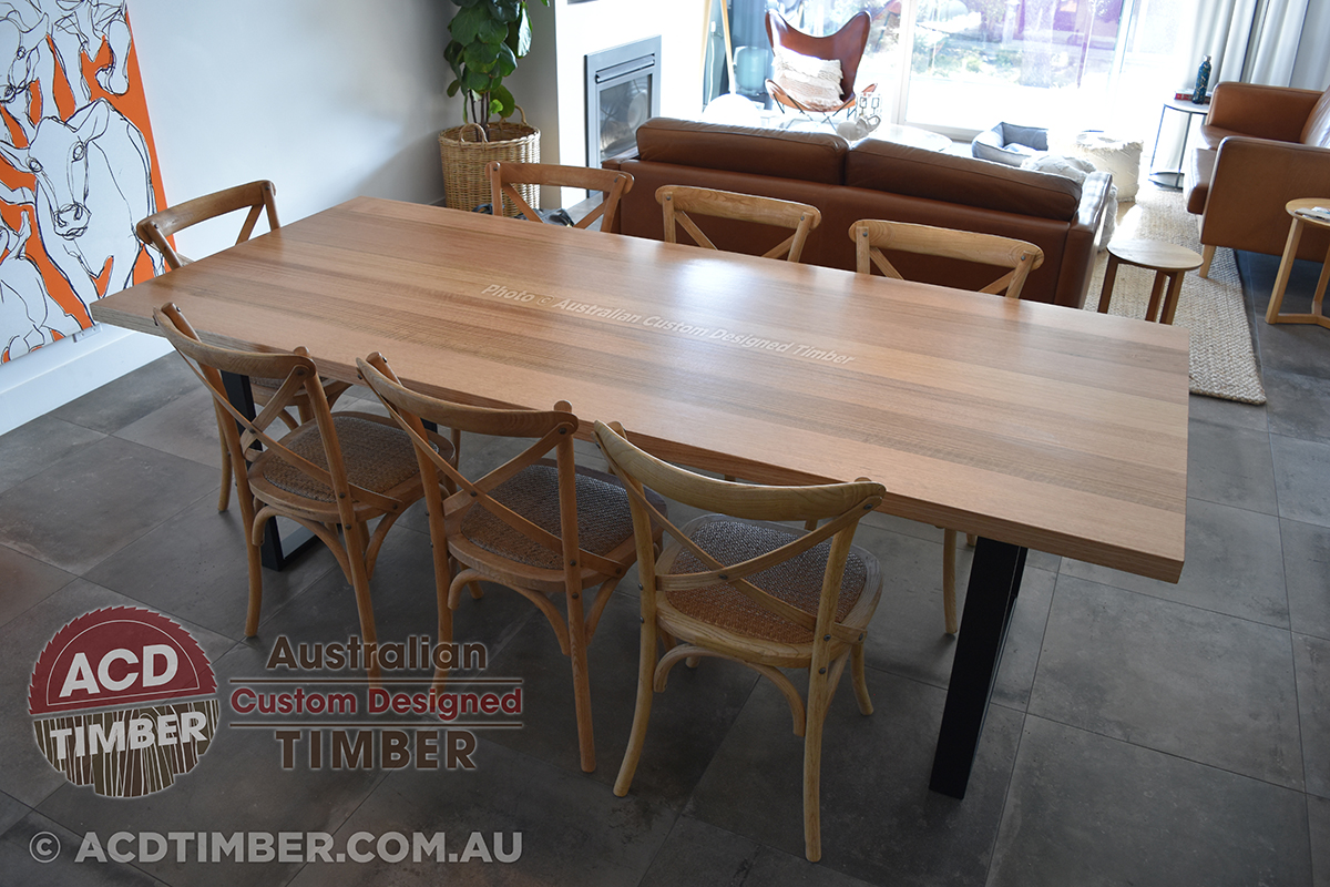 Number TOV3020. Custom Tasmanian Oak dining table with steel square-shaped legs. 2.00 metres (L) x 1.00 metre (W) x 0.76 metre (H)