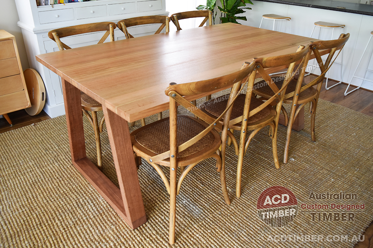 Number TOV3010. Custom Tasmanian Oak dining table with timber trapezoid (Tapered-top) legs. 1.70 metres (L) x 1.00 metre (W) x 0.76 metre (H)