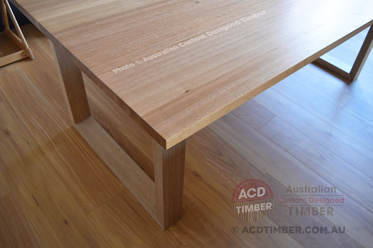 Number TOV4011. Custom Victorian Ash dining table with square-shaped timber legs. 2.00 metres (L) x 1.00 metre (W) x 0.76 metre (H)