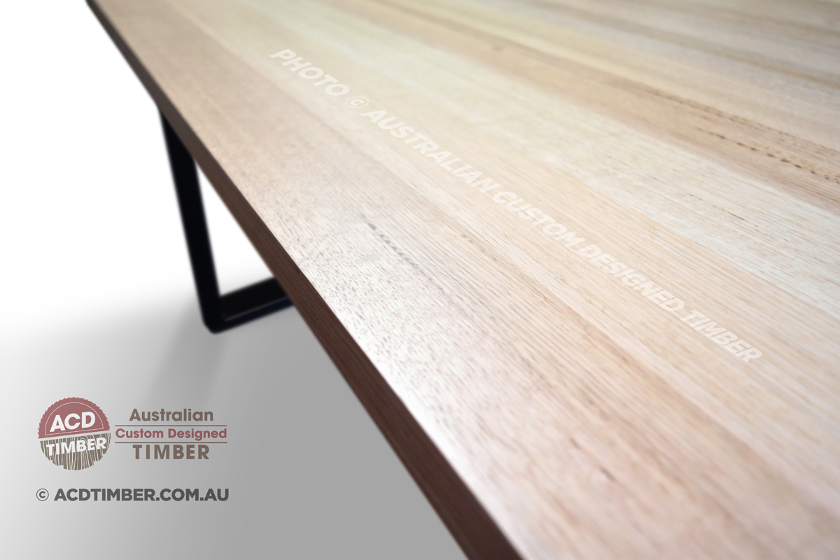 Number TOV4021. Custom Victorian Ash dining table with steel post leg-frame. 2.70 metres (L) x 1.20 metres (W) x 0.77 metre (H)